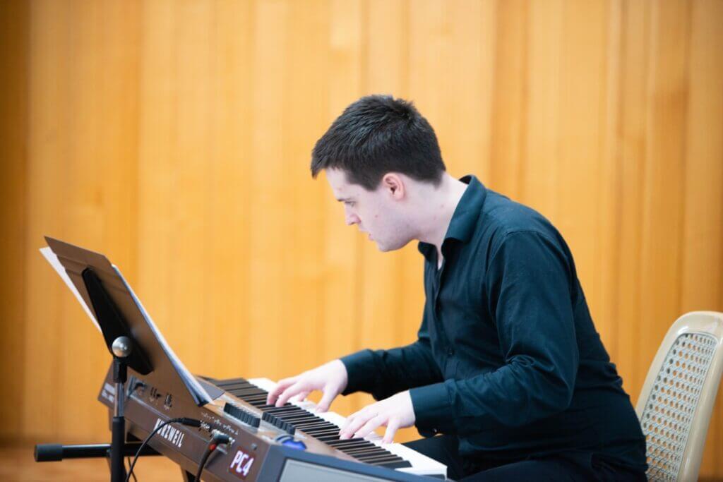 Noah Perez at the keyboard